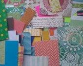Paper junk journal kit. Scapbook Paper kit. Papercraft pack.
