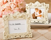 Place Card Holder Frames Set of 5 - Small Ivory and Gold Picture Frame for Escort Cards - Wedding Favors Party Favor Bridal Shower