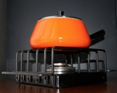 Spring Switzerland Fondue Pot Orange Enamel Sauce Pan Mid Century Modern Kitchen Vintage Saucepan Danish Modern Kitchen Retro Cookware Eames