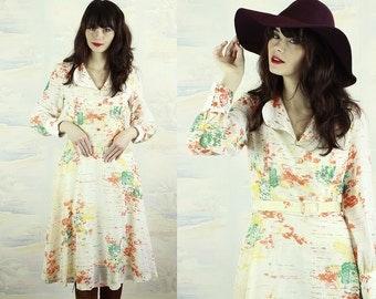 1970 printed summer dress,size Small,A line dress,High waist dress,shirt dress,cotton dress,long sleeves,full skirt dress.