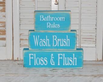 Bathroom Sign Bathroom Rules Sign Wooden Block Set Country Bathroom Decor Wood Block Signs
