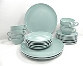 Russel Wright China set  casual chine Iroquois Ice Blue 23 pieces dinner plates bread plates cups and saucers ICE BLUE collection starter