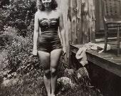Original Vintage Photograph Bathing Beauty