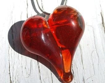 Glass Heart Necklace, Bright Orange Blown Boro Pendant, Lampwork Handblown Jewelry