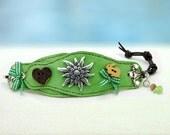 Zenzi... Leather Bracelet....Edelweiss  Bavarian Style Bracelet  Original by OceanBead