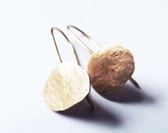 9ct gold earrings/ hammered gold earrings/ gold drop earrings