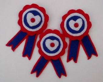 Patriotic Rosette Brooch/Pin. Red White and Blue Rosette.