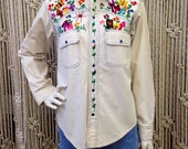Groovy late 1960's embroidered heavy cotton blue pearlsnap shirt