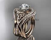 """14kt rose gold diamond celtic trinity knot wedding ring, engagement ring,  """"Forever One"""" Moissanite, double matching band CT7320S"""