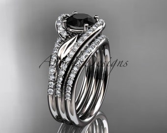 14k white gold diamond leaf wedding ring with a Black Diamond center stone and double matching band ADLR317S
