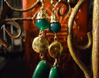 Boho Gypsy Inspired Emerald Green And Gold Suprise Earrings