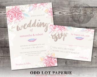 Floral Wedding Invitation Set Pastel Pink Roses Wedding Invite Spring  Wedding Invite DIY Printable Floral Wedding