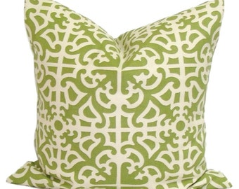 GREEN PILLOW SALE.16x16 inch Decorative Pillow Cover.Outdoor Decor.Outdoor Indoor .Green Outdoor Pillow. Green Outdoor Cushion Cover.Waverly
