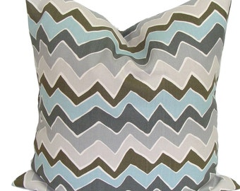 Blue Throw Pillow, Decorative Pillows,  Blue Chevron Pillow, Pillow, Blue Pillow Cover, Home Decor, Blue ZigZag Pillow, Blue Sham, Blue Euro