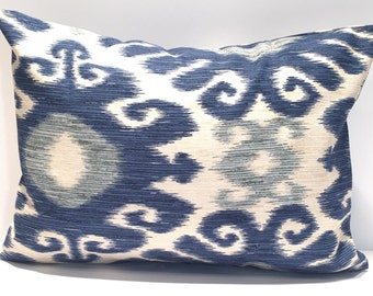 Indigo Ikat Pillow, 12x16 or 12x18, Blue Pillow Cover, Blue Pillow Cover, Decorative Pillow, Throw Pillow, Pillow, Indigo Blue Cushion Cover