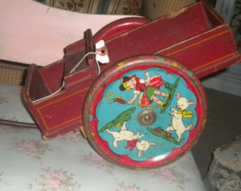 Awesome RARE 1930's Antique Wooden Wagon, Vintage Toy, Collectible