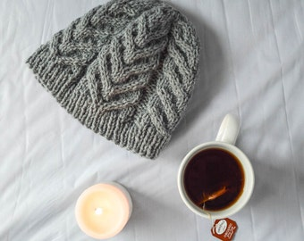 Hand Knit Cabled Hat Light Grey Winter Fall Ladies Teen Size Medium