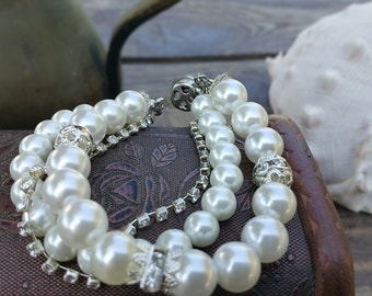 Stylish Wedding Bracelets, Ivory Pearl, Bridal Jewelry with Swarovski