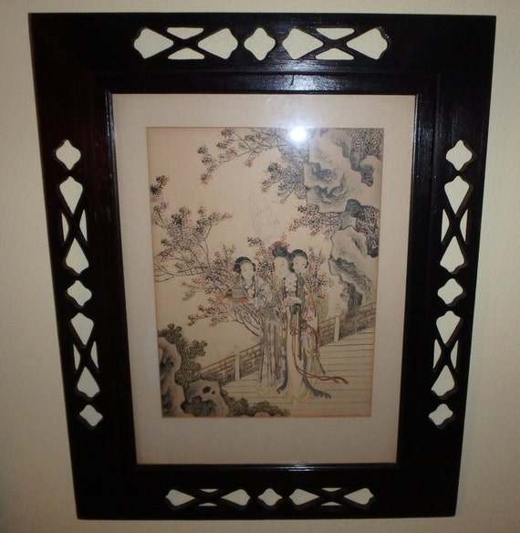 Beautiful Asian Print In Original Cutout Frame