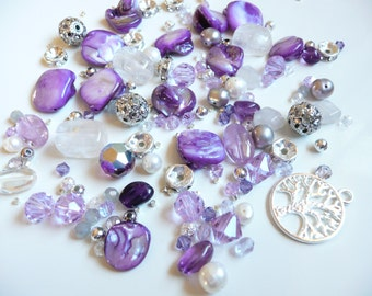 BULK BEADS-Swarovski Crystal Round & Bicone- Tanzanite-Czech - Tree of Life Charm -Amethyst Ovals-Pearls- Silver - MOP-over 145 loose beads