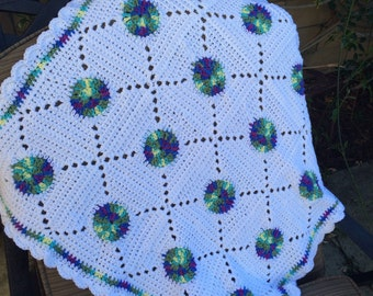Crocheted baby afghan, circles