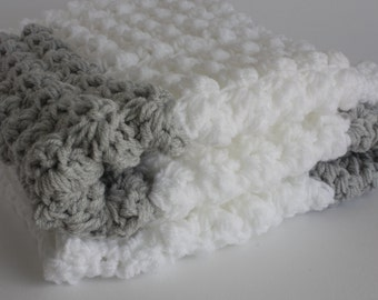 White and grey handmade extra thickness crochet baby blanket/shawl. Ideal Christening / shower /new baby gift.