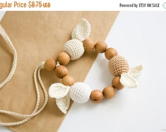 SALE Crochet Teething Ring - handmade baby teether, wooden teether, eco-friendly teething toy - FrejaToys