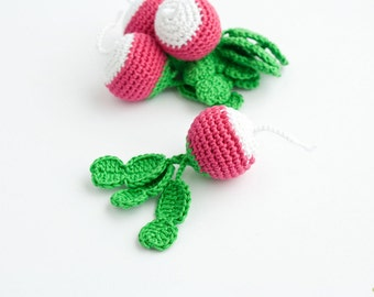 Crochet Radish (1 pc) - baby rattle, play food, pretend play, kitchen decoration, eco-friendly - FrejaToys