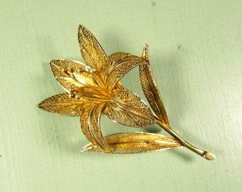 Gold Vermeil Flower Brooch - Vintage Sterling Silver Filigree Large