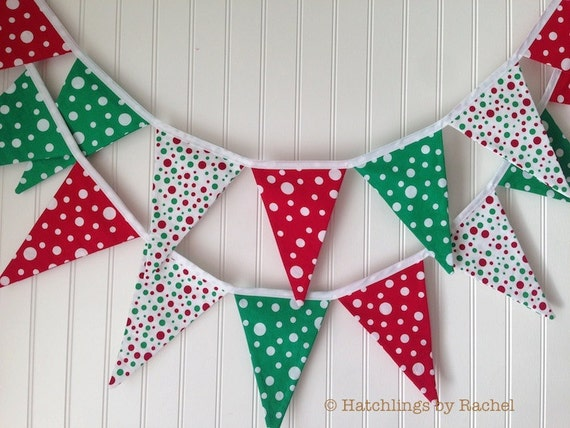 Christmas Fabric Bunting Lime Red Pennant Fabric Flag
