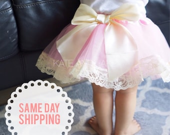 SALE Lace tutu skirt photography props baby pink lace princess bow tutu skirt baby tutu dress newborn tutu skirt