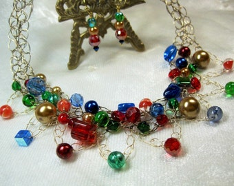 Beaded Crochet Necklace Set in Green, Blue, Red, and Gold, handmade bead jewelry, multi-color wire crochet necklace