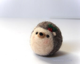 Needle felting Hedgehog with poinsettia flower, small Felted Hedgehog, Hanging ornament decoration
