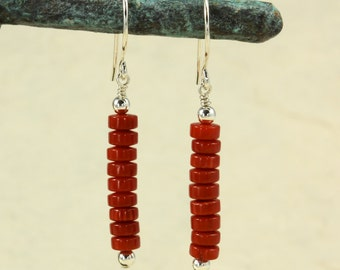 Red Coral Earrings with Sterling Silver, Dangle Earrings, Southwestern Earrings, Coral Heishi, Southwestern Jewelry, Red Earrings
