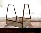 Industrial Metal Basket - Vintage Mesh Tote - Handled Organizer - Wire Market Basket - Rustic Wire Screen Basket - Farmhouse Wire Carrier