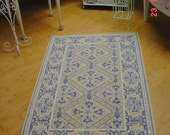 Hook Rug French Country Blue yellow Toile Romantic Shabby Chic Beach Cottage Chic