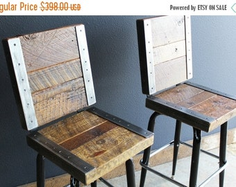 Last Chance Sale 10% OFF. 2 Restaurant Bar Stools with backs made with old reclaimed barn wood