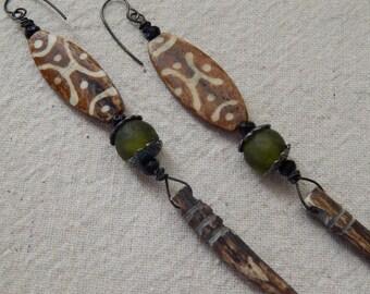 Tribal Carved Bone Dagger African Glass Earrings