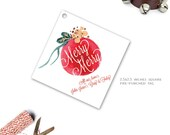 Watercolor Christmas Ornament Gift Tag--Monogrammed or Personalized Xmas Gift Tags