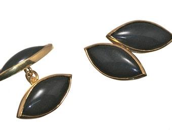 Black Onyx Cufflinks Double Lozenge Shape Regnas Gold Plated Sterling Silver 925