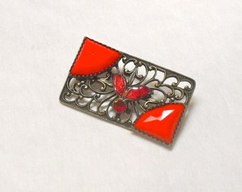 Art Deco Red Czech Glass and Enamel Brass Brooch