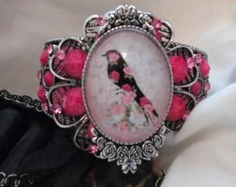 Pink Flower Art Bracelet - Crystal Cabochon Shabby Chic Bird Cuff Bracelet