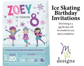 Girls Ice Skating Birthday Invitation - Printable