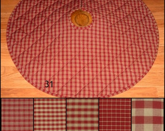 Burgundy Red And TAN Homespun Quilted Christmas Tree Skirt Plaid Primitive Country Rustic 20 25