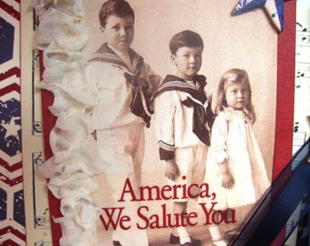 Traditional Charm ~~~ America We Salute You ~~~ Patriotic Card  ~~~ Decor