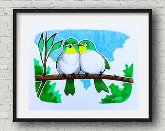 Love birds Poster Art Print 8x10