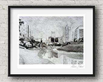 Omaha art Downtown omaha watercolor art print nebraska poster