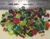 DESTASH - Bead Soup - Czech Press Glass - yellows, oranges, reds, greens - bead variety - PG848