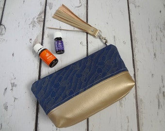 Ready to ship, Essential Oil Zipper Bag Pouch Storage Bag Modern Vegan Leather and navy Art Deco (holds 12-16)