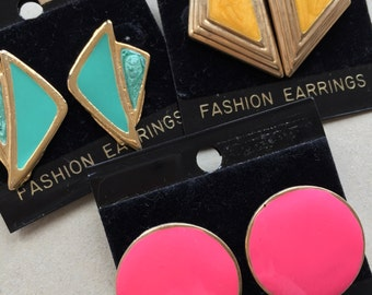 nos 80s vintage gold tone metal over sized enameled earrings//aqua blue mustard yellow hot pink--mixed lot of 3 pairs